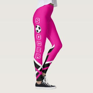 Hot Pink, White and Black Soccer Player Leggings