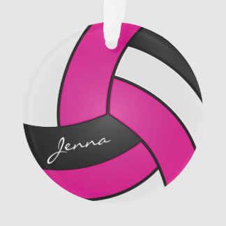 Hot Pink, White and Black Volleyball Ornament