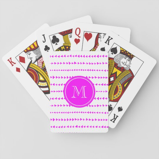 Hot Pink White Aztec Arrows Monogram Playing Cards