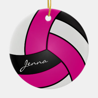Hot Pink, White & Black Personalize Volleyball Christmas Ornament