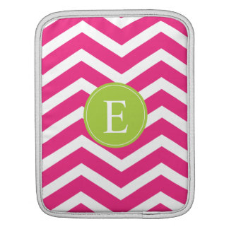 Hot Pink White Chevron Green Monogram iPad Sleeve