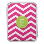 Hot Pink White Chevron Green Monogram iPad Sleeves