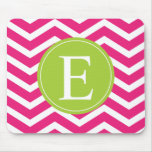 Hot Pink White Chevron Green Monogram Mouse Pads