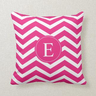 Hot Pink White Chevron Monogram Cushion