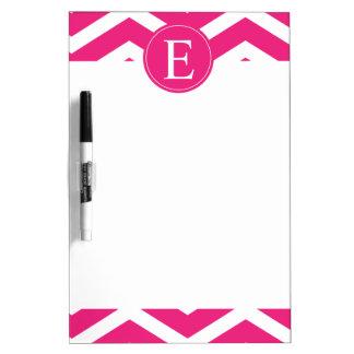 Hot Pink White Chevron Monogram Dry Erase Board