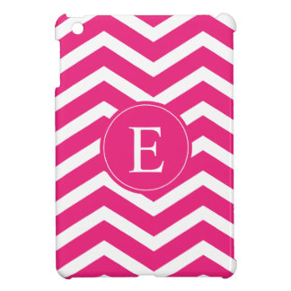 Hot Pink White Chevron Monogram iPad Mini Cover