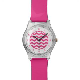 Hot Pink White Chevron Wristwatch