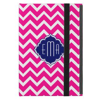 Hot Pink & White Chevron Zigzag Pattern iPad Mini Cover