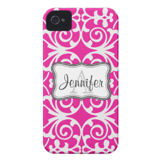 Hot Pink & White Damask Monogram iPhone 4/4s Case-Mate iPhone 4 Cases