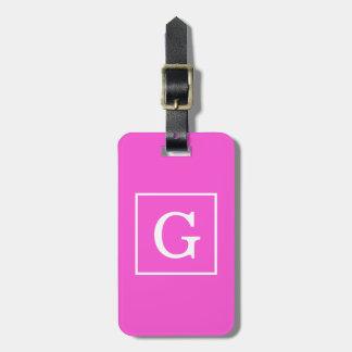 Hot Pink White Framed Initial Monogram Travel Bag Tags