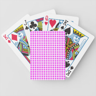 Hot Pink White Gingham Pattern Bicycle Playing Cards