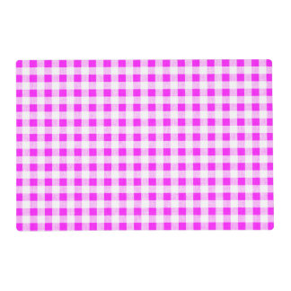 Hot Pink White Gingham Pattern Laminated Place Mat