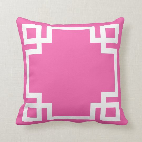 Hot Pink White Greek Key Cushion
