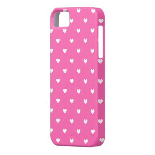 Hot Pink & White Hearts Pattern iPhone 5 Case