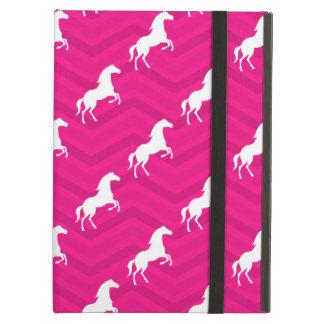 Hot Pink, White Horse, Equestrian, Chevron iPad Air Cases