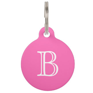 Hot Pink White Monogram Initial Name Simple Pet Tag