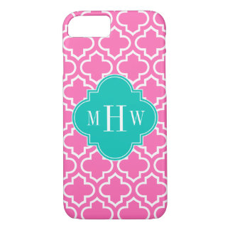 Hot Pink White Moroccan #6 Teal 3 Initial Monogram iPhone 7 Case
