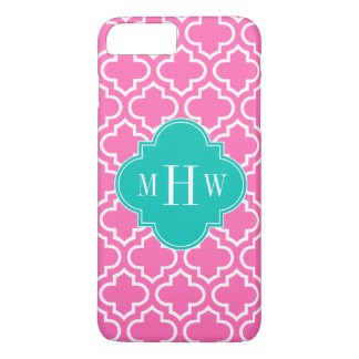 Hot Pink White Moroccan #6 Teal 3 Initial Monogram iPhone 7 Plus Case