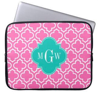 Hot Pink White Moroccan #6 Teal 3 Initial Monogram Laptop Sleeve