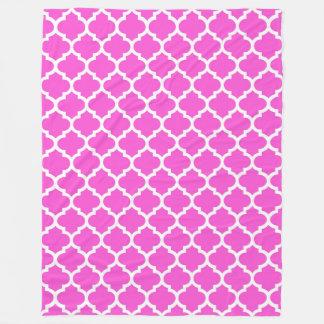 Hot Pink White Moroccan Quatrefoil Pattern #5 Fleece Blanket