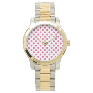 Hot Pink White Polka Dots Pattern Watch