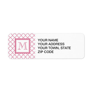 Hot Pink White Quatrefoil | Your Monogram