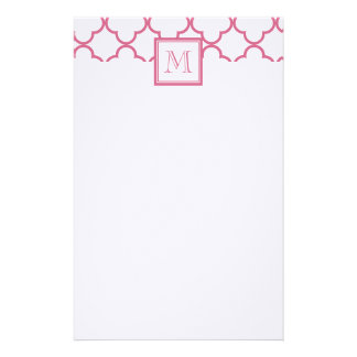 Hot Pink White Quatrefoil | Your Monogram Stationery