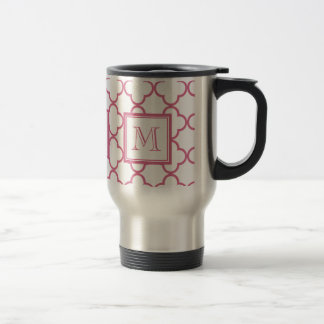 Hot Pink White Quatrefoil | Your Monogram Travel Mug