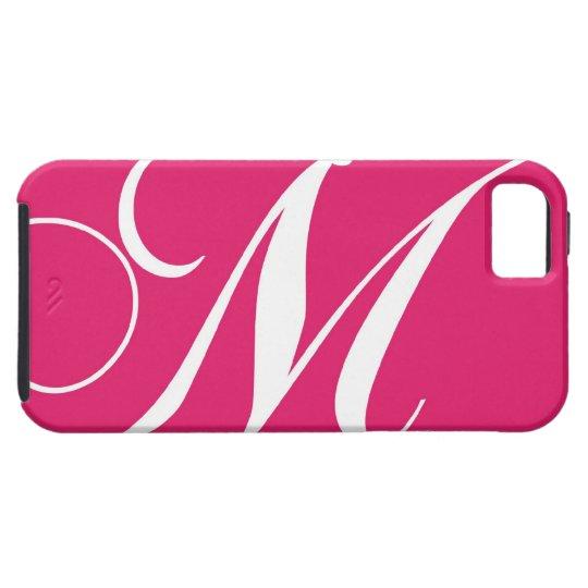 Hot Pink, White Script Monogram M iPhone 5 Cases