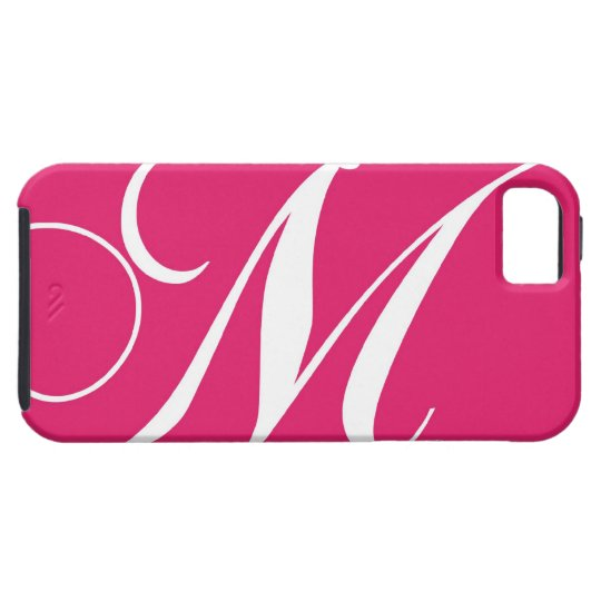 Hot Pink, White Script Monogram M iPhone 5 Cover