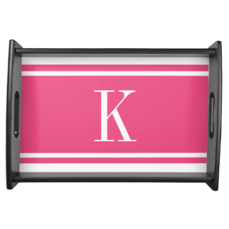 Hot Pink White Stripe Pattern & Custom Monogram Serving Tray