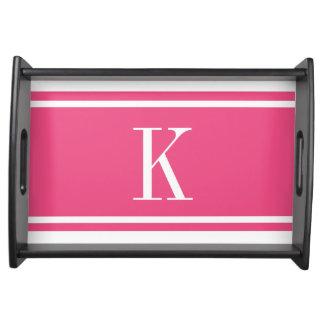 Hot Pink White Stripe Pattern & Custom Monogram Serving Trays