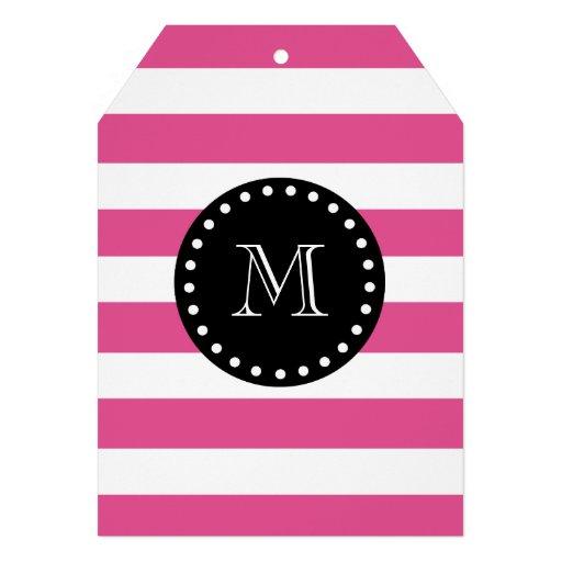 Hot Pink White Stripes Pattern, Black Monogram Custom Invitations