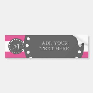 Hot Pink White Stripes Pattern, Charcoal Monogram Bumper Sticker