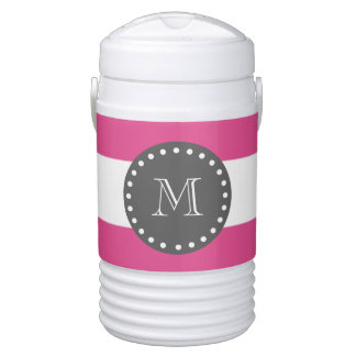 Hot Pink White Stripes Pattern, Charcoal Monogram Cooler