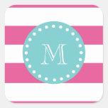 Hot Pink White Stripes Pattern, Teal Monogram Square Sticker