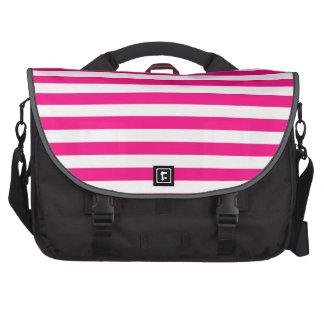 Hot Pink White Stripes Striped Laptop Commuter Bag