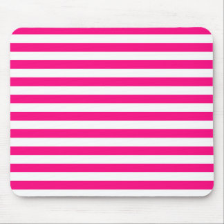 Hot Pink & White Stripes; Striped Mouse Mat