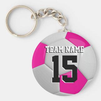 Hot Pink & White Team Soccer Ball Basic Round Button Key Ring