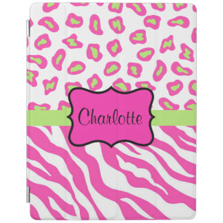 Hot Pink White Zebra Leopard Skin Name Personalize iPad Cover