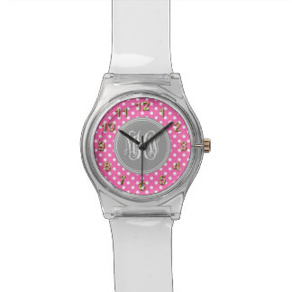 Hot Pink Wht Dot Dk Gray 3I Vine Script Monogram Watches