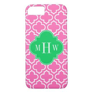 Hot Pink Wht Moroccan #6 Emerald Green 3I Monogram iPhone 8/7 Case