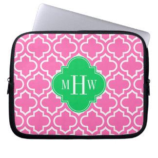 Hot Pink Wht Moroccan #6 Emerald Green 3I Monogram Laptop Sleeve