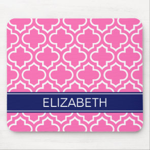 Hot PInk Wht Moroccan #6 Navy Blue Name Monogram Mouse Mat