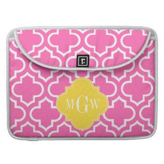 Hot Pink Wht Moroccan #6 Pineapple 3 Init Monogram Sleeve For MacBooks