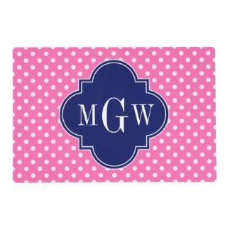 Hot Pink Wht Polka Dots Navy Quatrefoil 3 Monogram Laminated Place Mat