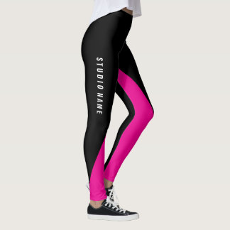 Hot pink with custom color and Name Leggings