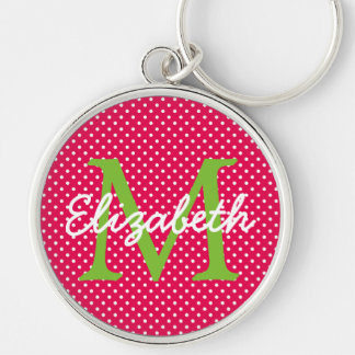 Hot Pink With Green and White Polka Dot Monogram Key Ring