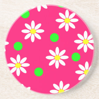 Hot Pink with White Daisy Pattern Coaster