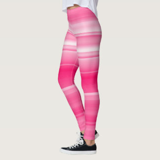 Hot pink with white shades / stripes leggings